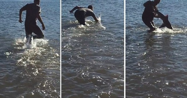 Έπιασε έναν καρχαρία με γυμνά χέρια (Βίντεο)