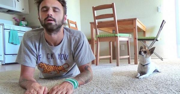 Βιντεοσκοπεί τον εαυτό του την ώρα που κάνει γιόγκα, όταν όμως ανοίγει τα μάτια του… (Βίντεο)