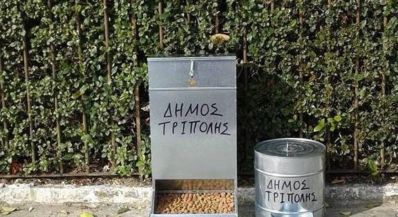 Τοποθετήθηκαν οι πρώτες ταΐστρες και ποτίστρες για τ' αδέσποτα ζώα στο Δήμο Τρίπολης μετά από πρωτοβουλία πολιτών (Εικόνες)