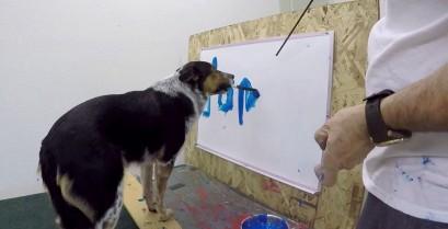 Ο Jumpy ο σκύλος γράφει το όνομά του (Βίντεο)