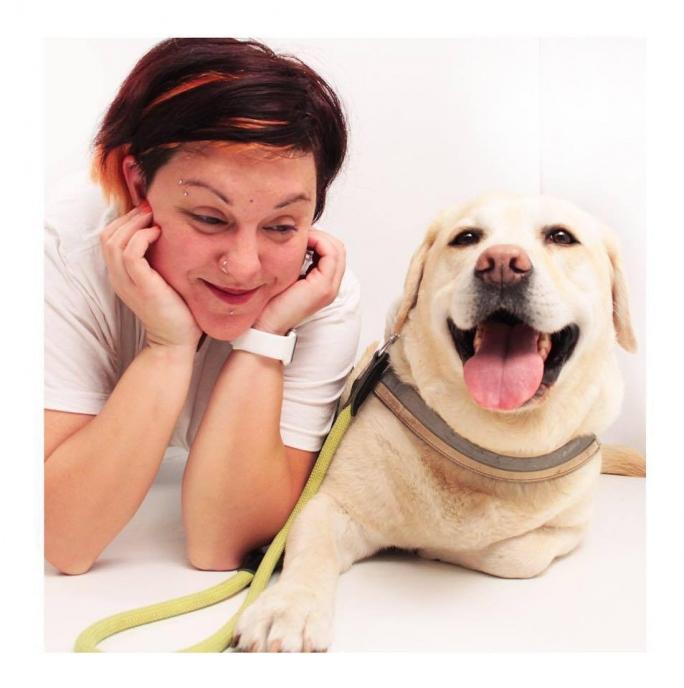 τυφλός τυφλή σκύλος οδηγός
