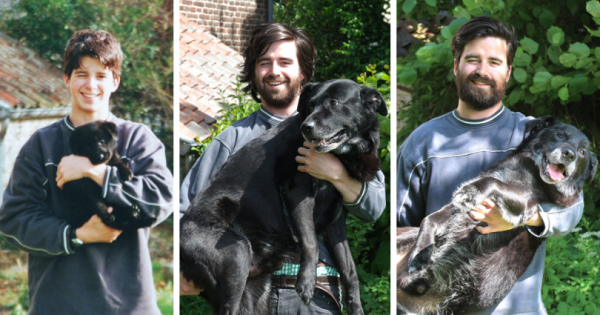 Φωτογραφίζεται αγκαλιά με τον σκύλο του στην ίδια στάση όπως πριν από 15 χρόνια. Ο λόγος; Μας έκανε να δακρύσουμε!