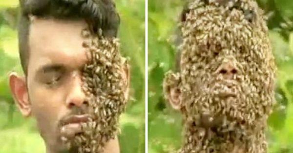 Νεαρός αφήνει 60.000 μέλισσες να… αράξουν στο κεφάλι του
