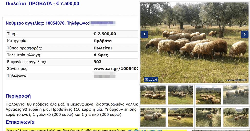 Ελληνική σελίδα αγγελιών αυτοκινήτων πουλάει και ζώα