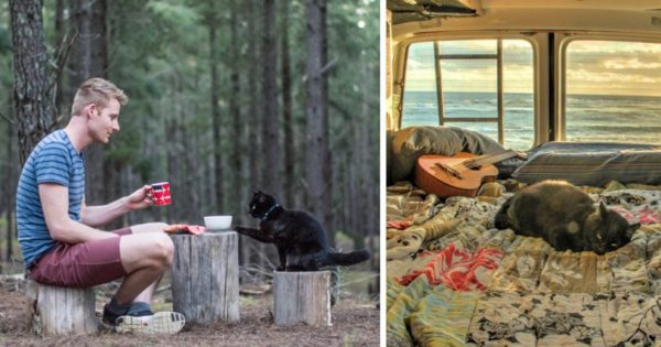 Παράτησε την δουλειά του πούλησε ό,τι είχε και ταξιδεύει με την αδέσποτη γάτα που διέσωσε