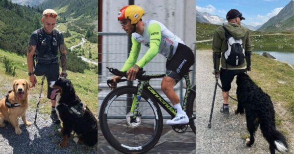 Ο παραολυμπιακός αθλητής Αντρέα Πουσατέρι διαπρέπει με τους σκύλους του στο πλευρό του.