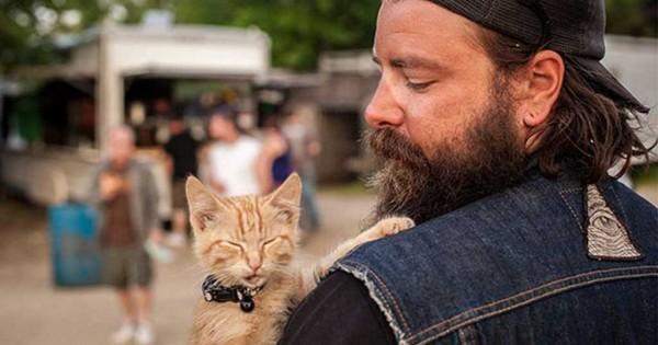 Ένας μοτοσικλετιστής βρήκε στο δρόμο του ένα γατάκι με εγκαύματα και το πήρε μαζί του στο ταξίδι του. (Φωτογραφίες)