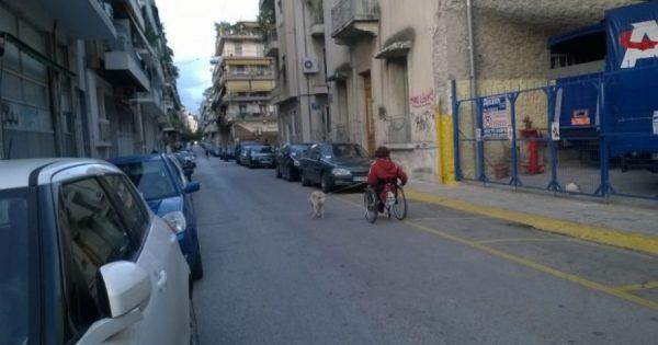 Αν και πάνω σε αναπηρικό καροτσάκι έσκυψε και μάζεψε τα κόπρανα του σκύλου της
