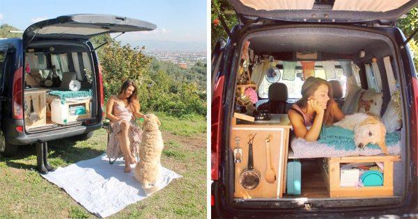 Γυναίκα επιδιόρθωσε ένα παλιό βαν για να κάνει τον γύρο του κόσμου μαζί με τον σκύλο της