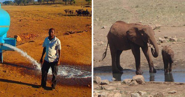 Κενυάτης καθημερινά οδηγεί στην έρημο για να προσφέρει νερό στα άγρια ζώα