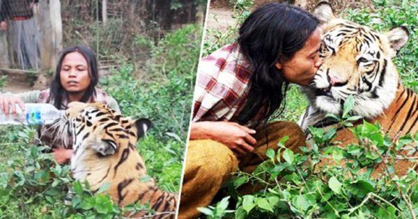 Ινδονήσιος ζει με μια τίγρη της Βεγγάλης και τα κάνουν όλα μαζί – Ζουν, κοιμούνται, παίζουν και τρώνε μαζί