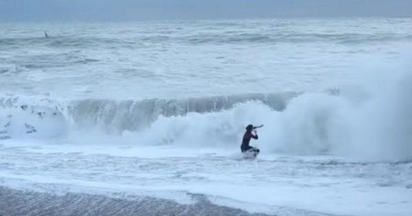 Βούτηξε στη φουρτουνιασμένη θάλασσα για να σώσει τον σκύλο της (vid)