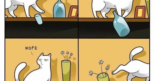 Καλλιτέχνης απαθανατίζει πώς είναι να ζεις με μία γάτα (30 φωτογραφίες)